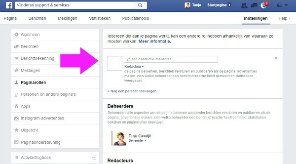 FB pagina delegeren stap 4