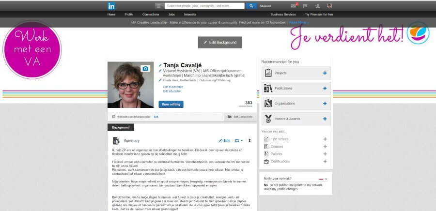 Background image (header) in Linkedin