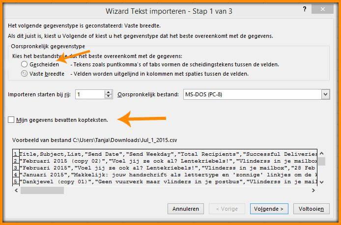 csv tekst importeren met wizard stap 1