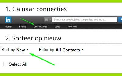 Taggen in LinkedIn, ga naar connecties en sorteer nieuw