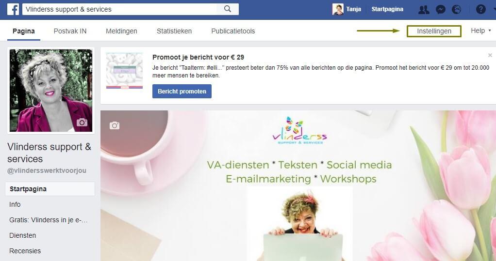 aanbeveling vragen op Facebook Instellingen