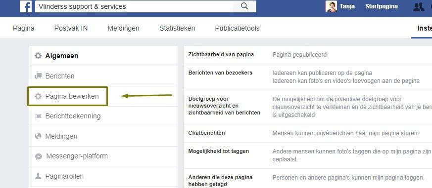 aanbeveling vragen op Facebook pagina bewerken