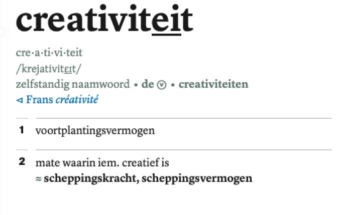 creativiteit, definitie Van Dale